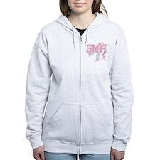 SMH initials, Pink Ribbon, Zip Hoody