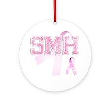 SMH initials, Pink Ribbon, Round Ornament