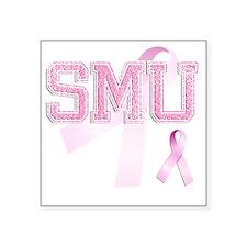 "SMU initials, Pink Ribbon, Square Sticker 3"" x 3"""