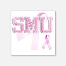 "SMU initials, Pink Ribbon, Square Sticker 3"" x 3"""