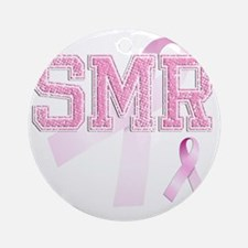 SMR initials, Pink Ribbon, Round Ornament