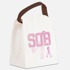 SOB initials, Pink Ribbon, Canvas Lunch Bag