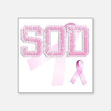 """SOD initials, Pink Ribbon, Square Sticker 3"""" x 3"""""""