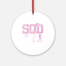 SOD initials, Pink Ribbon, Round Ornament