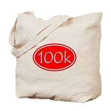 Red 100k Oval Tote Bag