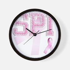 SPI initials, Pink Ribbon, Wall Clock