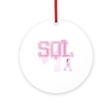 SQL initials, Pink Ribbon, Round Ornament