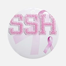 SSH initials, Pink Ribbon, Round Ornament