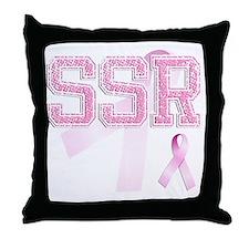 SSR initials, Pink Ribbon, Throw Pillow