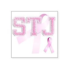 """STJ initials, Pink Ribbon, Square Sticker 3"""" x 3"""""""