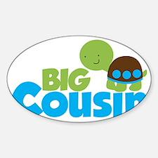 Boy Turtle Big Cousin Sticker (Oval)