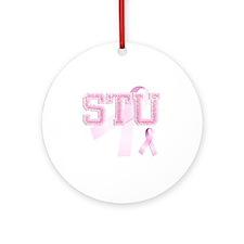 STU initials, Pink Ribbon, Round Ornament