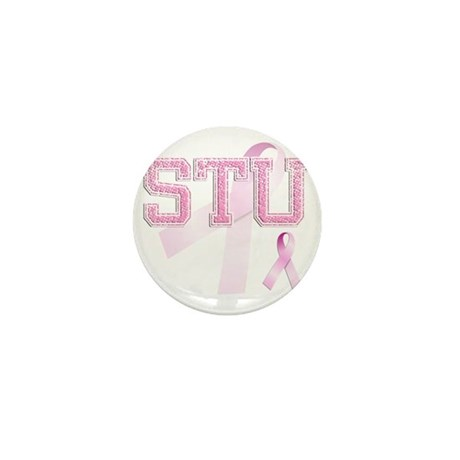 STU initials, Pink Ribbon, Mini Button