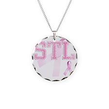 STL initials, Pink Ribbon, Necklace