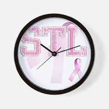 STL initials, Pink Ribbon, Wall Clock