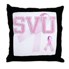 SVU initials, Pink Ribbon, Throw Pillow
