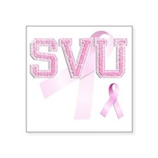 "SVU initials, Pink Ribbon, Square Sticker 3"" x 3"""