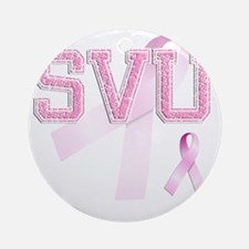 SVU initials, Pink Ribbon, Round Ornament