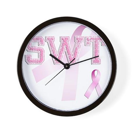 SWT initials, Pink Ribbon, Wall Clock