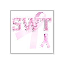 "SWT initials, Pink Ribbon, Square Sticker 3"" x 3"""