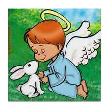 Angel with Bunny Tile Coaster