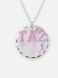 TAZ initials, Pink Ribbon, Necklace