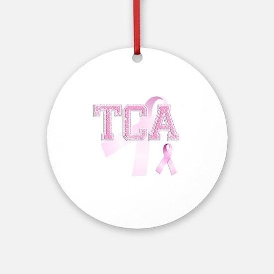 TCA initials, Pink Ribbon, Round Ornament