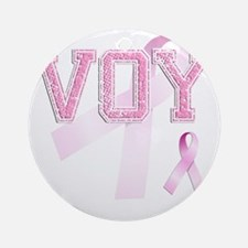 VOY initials, Pink Ribbon, Round Ornament