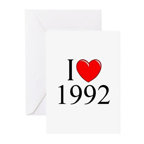 """""""I Love 1992"""" Greeting Cards (Pk of 10)"""