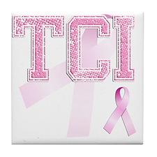 TCI initials, Pink Ribbon, Tile Coaster