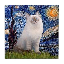 Starry Night Ragdoll Tile Coaster