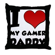 I Heart My Gamer Daddy Throw Pillow