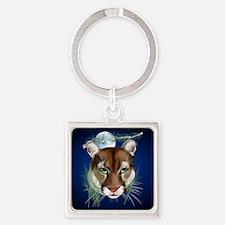 Queen Duvet Midnight Mountain Lion Square Keychain