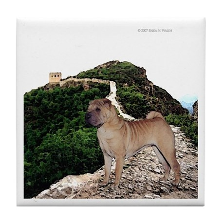 Shar Pei on the Great Wall of Tile Coaster
