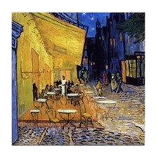 Cafe Terrace At Night By Vincent Van Tile Coaster