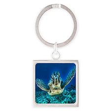 macro sea turtle Square Keychain