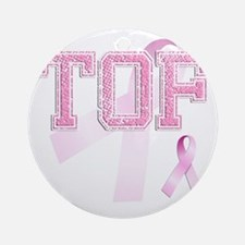 TOF initials, Pink Ribbon, Round Ornament