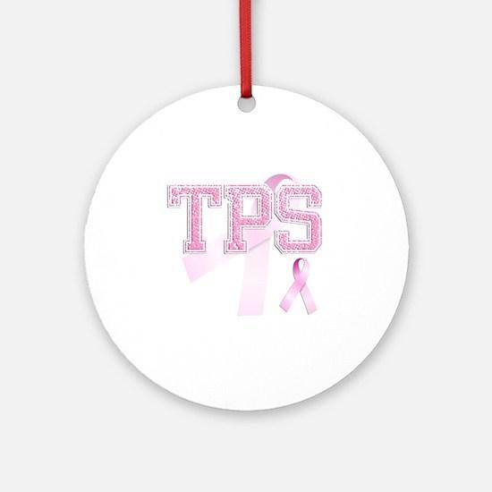 TPS initials, Pink Ribbon, Round Ornament