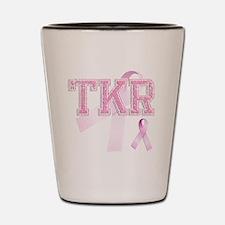 TKR initials, Pink Ribbon, Shot Glass