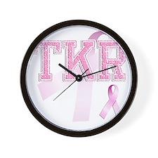 TKR initials, Pink Ribbon, Wall Clock