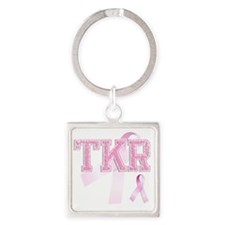 TKR initials, Pink Ribbon, Square Keychain