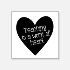 "Teacher Heart Square Sticker 3"" x 3"""