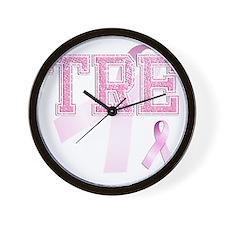 TRE initials, Pink Ribbon, Wall Clock