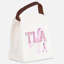 TLA initials, Pink Ribbon, Canvas Lunch Bag