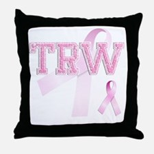 TRW initials, Pink Ribbon, Throw Pillow
