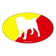 China Flag Pug Oval Decal