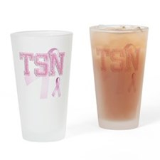 TSN initials, Pink Ribbon, Drinking Glass