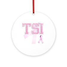 TSI initials, Pink Ribbon, Round Ornament