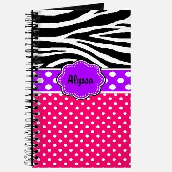 Pink Purple Dots Zebra Monogram Journal