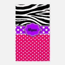 Pink Purple Dots Zebra Monogram 3'x5' Area Rug